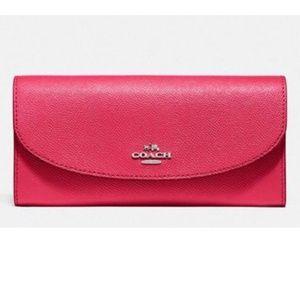 Coach F54009 Women's Slim Envelope Magenta Wallet